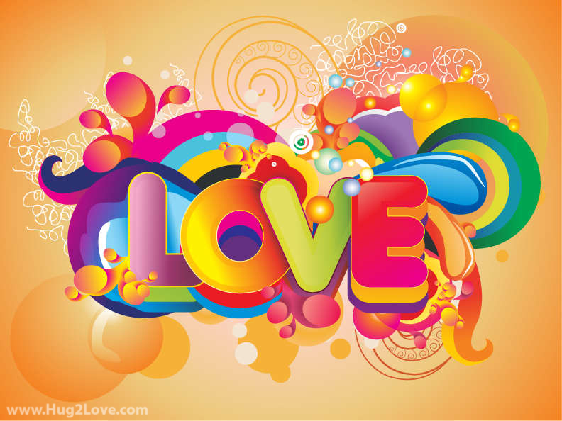 Colorful Love Background Vector Art
