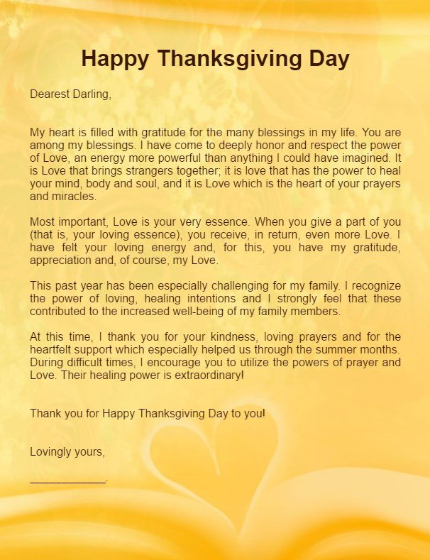 Thanksgiving Love Letter for Her Girlfriend