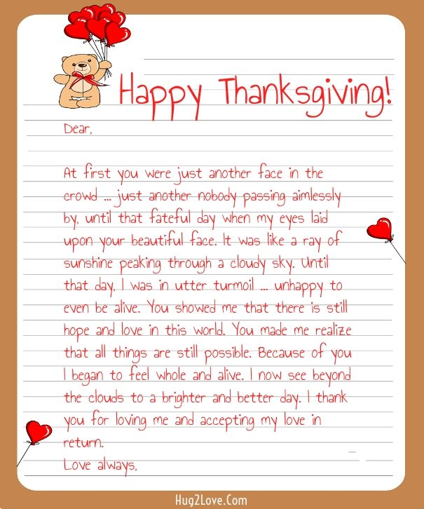 Thanksgiving Love Letter for Her