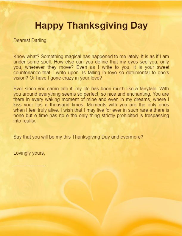 Thanksgiving Love Letter for boyfriend husband