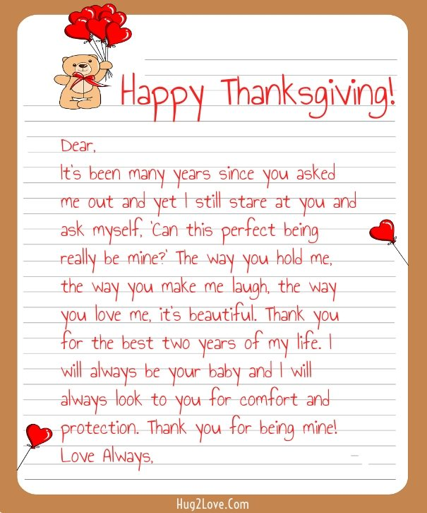 Thanksgiving Love Letters For Her  Him