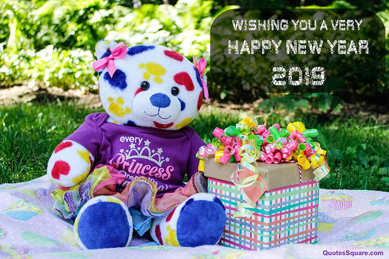 new year teddy bear picture gifts cute quotes square